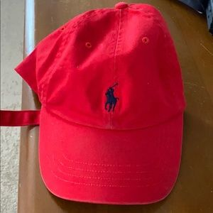 Lightly used Cherry red Polo baseball cap